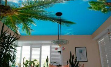 тканевый натяжной потолок с фотопечатью