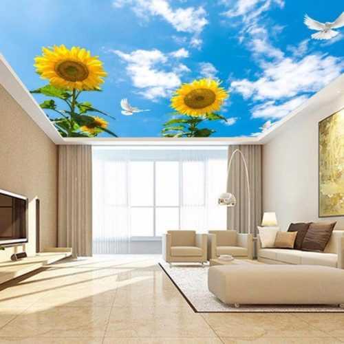 Тканевый потолок с рисунком