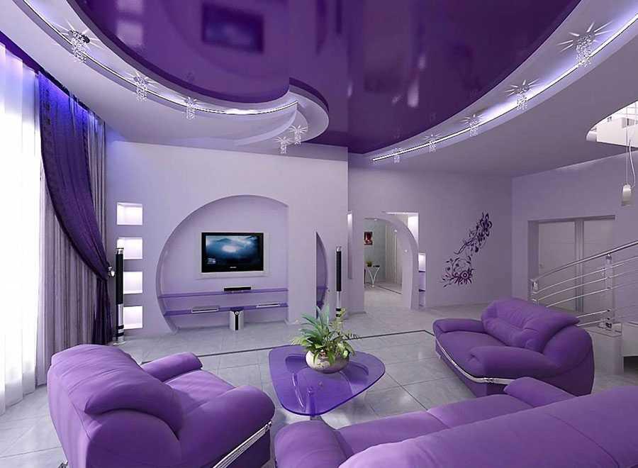 Натяжной потолок фиолетовый
