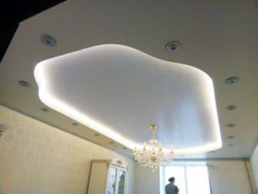 многоуровневый натяжной потолок гостиная
