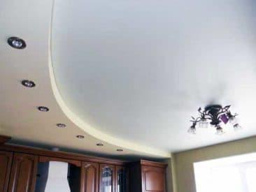 многоуровневый натяжной потолок кухня