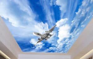 рисунок на натяжном потолке самолёт