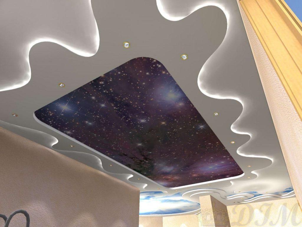 натяжной потолок звёздное небо многоуровневый
