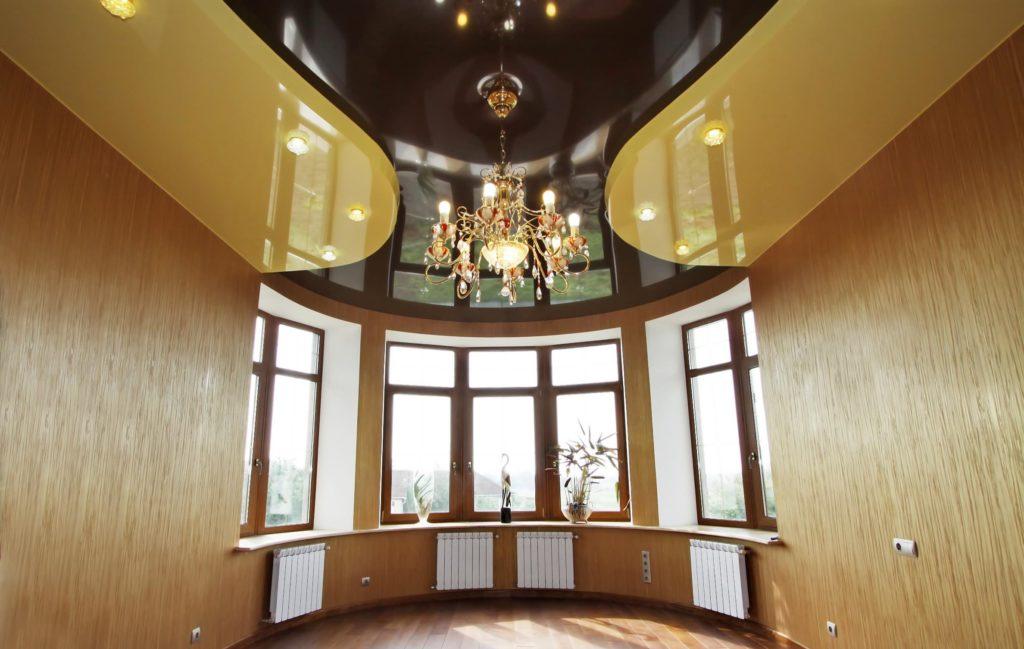 Глянцевый натяжной потолок 2х уровневый