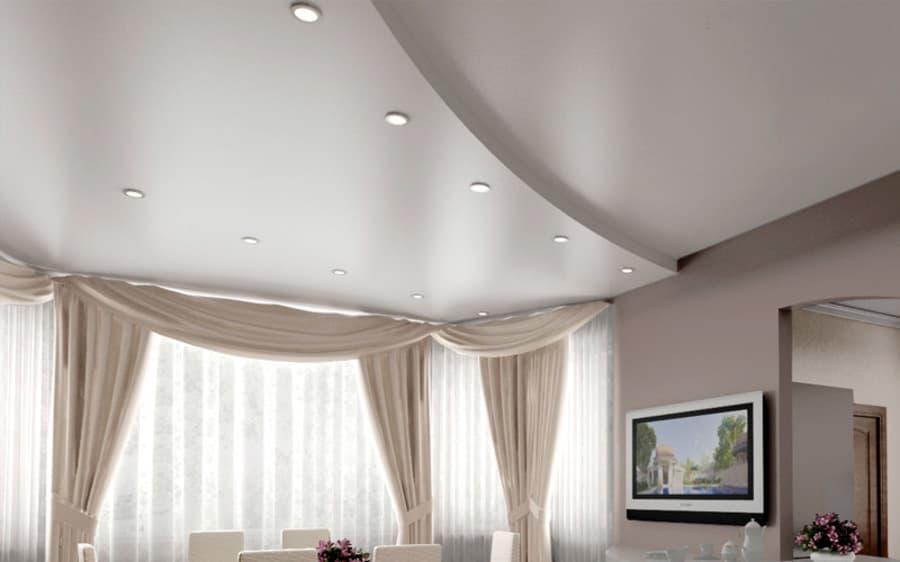 Сатиновый натяжной потолок 2 уровня