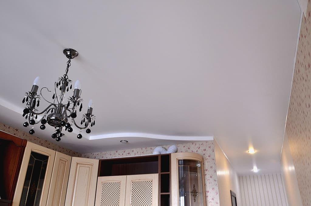 тканевый натяжной потолок кухня