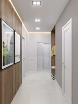 натяжные потолки в коридоре белые