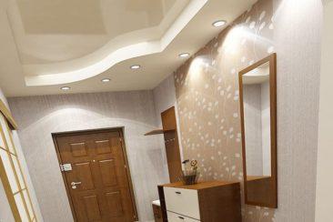 натяжные потолки в коридоре 2х уровневые