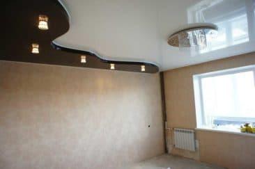 двухуровневые натяжные потолки глянцевые