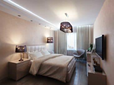 натяжной-потолок-в-спальню с подсветкой