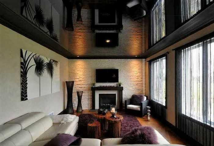 чёрный глянец натяжной потолок
